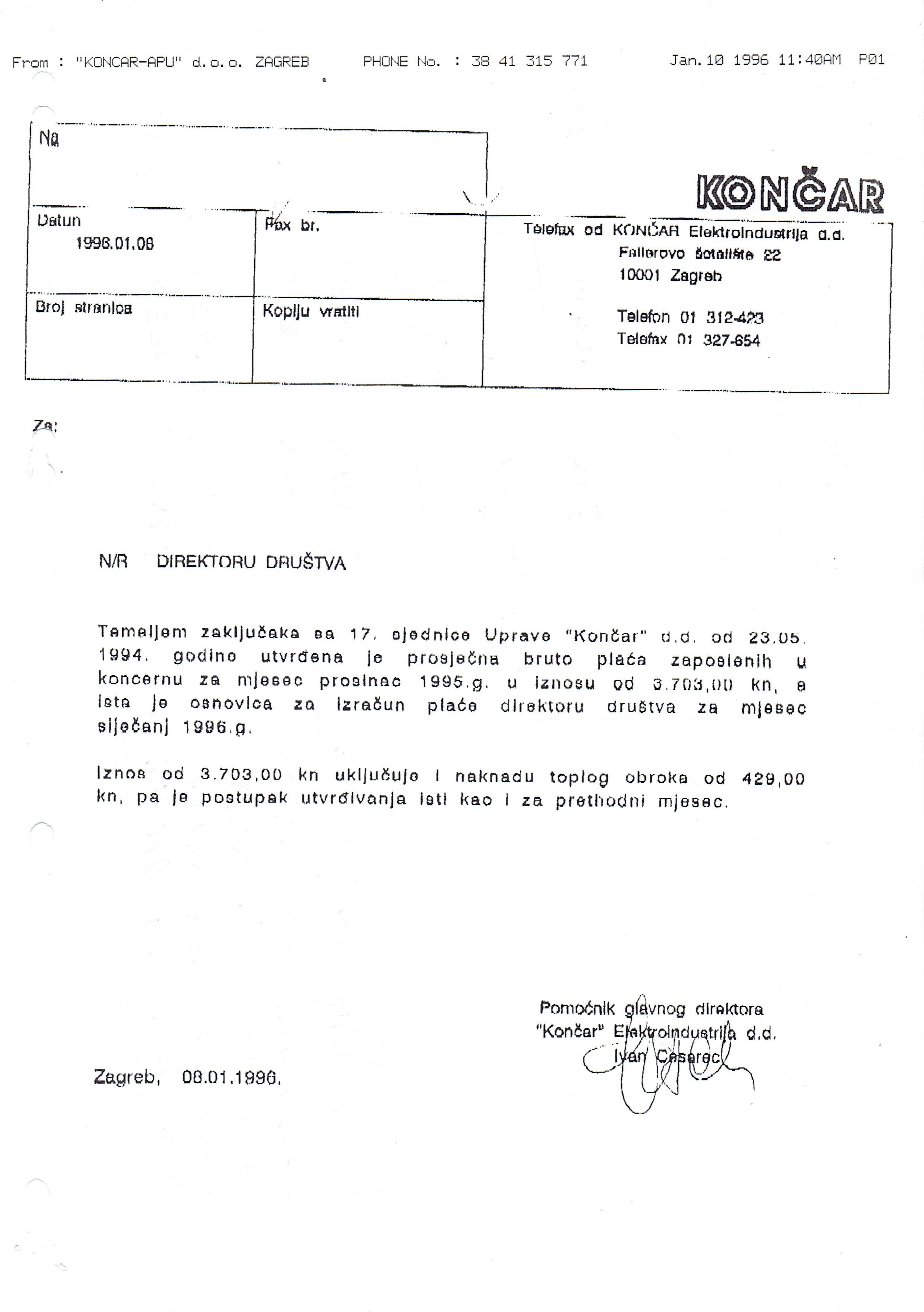 PROSJEČNA PLAĆA 1995.
