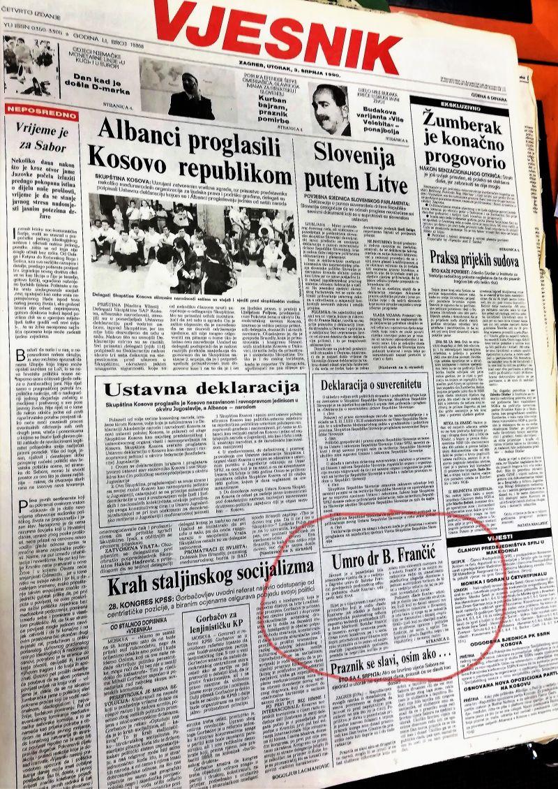 0. FRANČIĆ-VJESNIK-3.7.1990.-1